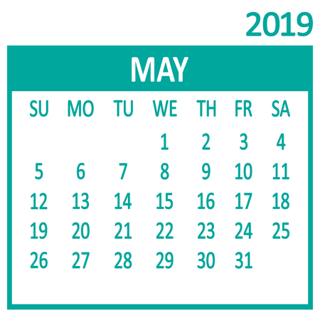 May. Fifth page of set. Calendar 2019, template. Week starts from Sunday. Vector illustration