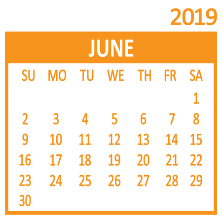 June. Sixth page of set. Calendar 2019, template. Week starts from Sunday. Vector illustration