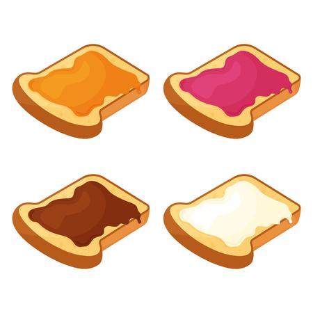 Set of slices of fried bread, toast with honey, jam, chocolate and butter. Vector illustration Ilustração Vetorial