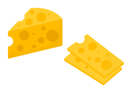 Colored cheese icon. Cheese slicer. Vector illustration 向量圖像