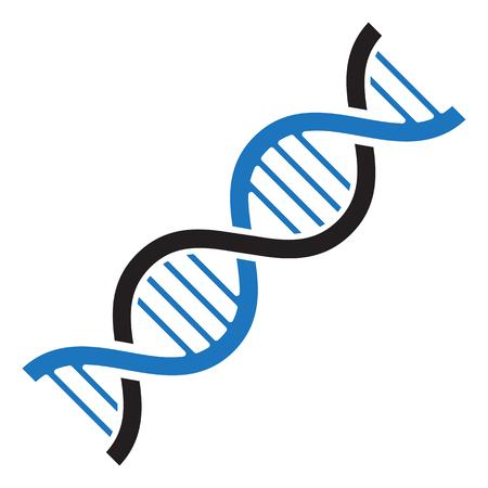 Icono de ADN. Colores negro y azul. Ilustración vectorial