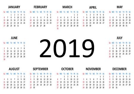 Calendar 2019. Week starts from Sunday. Illustration 스톡 콘텐츠