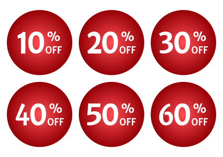 Red set of advertising tag with different discount offers. Vector illustration