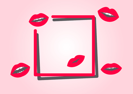 Red frame for your text with lips. Vector illustration