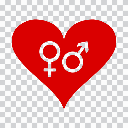 Male and female symbol in red heart on transparent background. Vector illustration