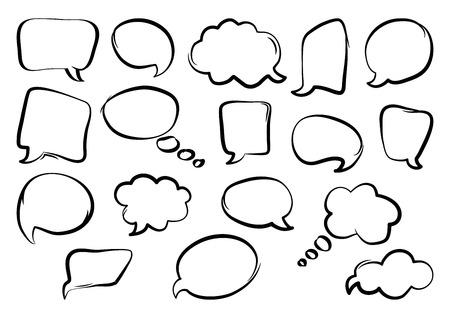 Set of speech bubbles, hand drawn, outline design. Vector illustration Ilustração Vetorial