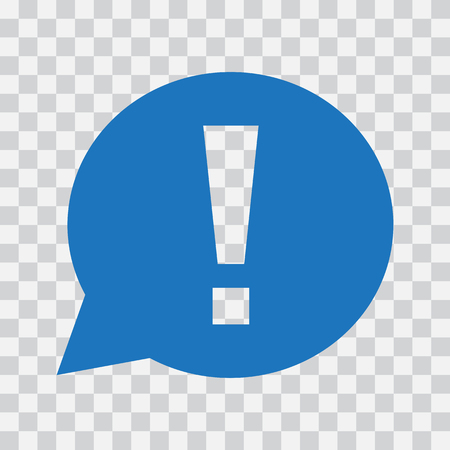 Exclamation mark in speech bubble. Warning or attention sign. Blue icon on transparent background. Vector illustration