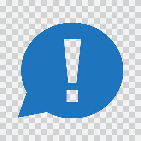 Signo de exclamación en bocadillo. Señal de advertencia o atención. Icono azul sobre fondo transparente. Ilustración vectorial