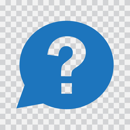 Question mark sign in blue speech balloon. Help icon on transparent background. Vector illustration Illustration