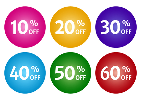 Colorful set of advertising tag with different discount offers. Vector illustration