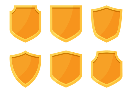 Golden shields collection. Vector illustration