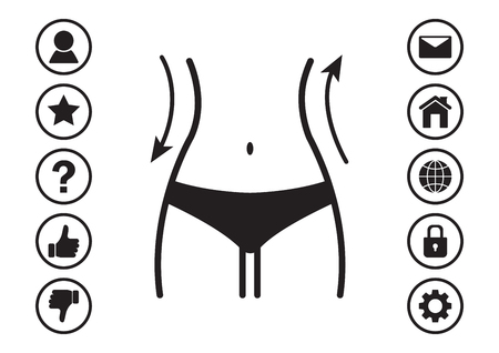 Women waist and web icons menu. Silhouette of female figure. Vector illustration