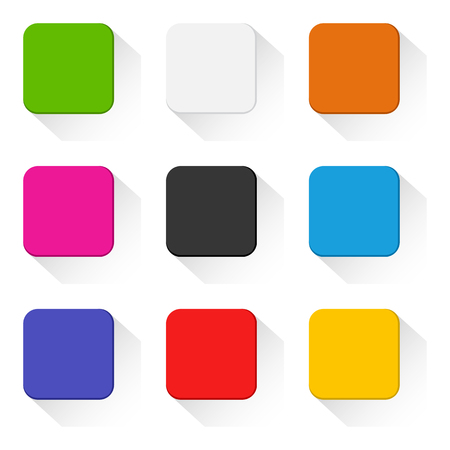 Colorful set of square buttons with shadow. Vector illustration