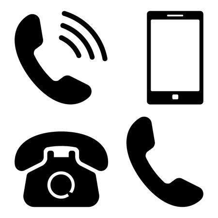 Black set of phone icons. Vector illustration