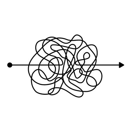 Una línea negra desordenada y loca, una forma complicada de ovillo. Camino de garabatos enredados. Proceso caótico difícil. plantilla. Ilustración vectorial