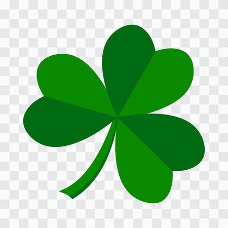 Green leaf clover icon on transparent background. Vector illustration