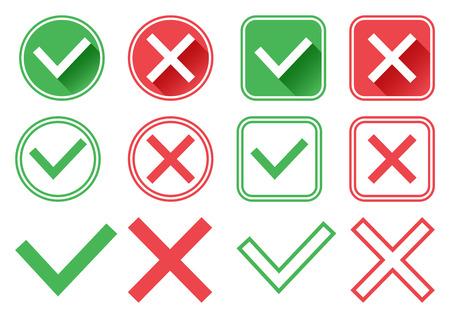 Boutons verts et rouges. Coche verte et croix rouge. Vrai et faux. Conception différente. Illustration vectorielle