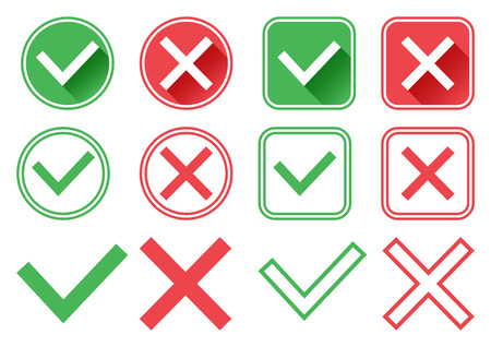 Green and red buttons. Green check mark and red cross. Right and wrong. Different design. Vector illustration
