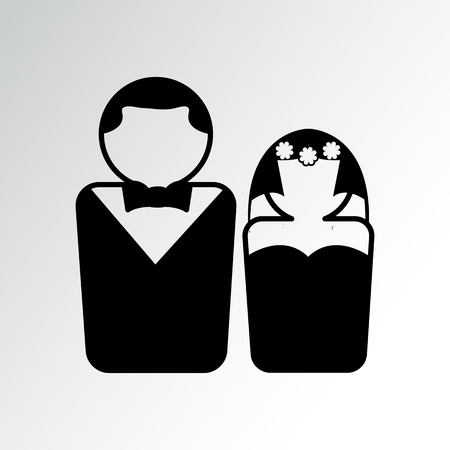 Couple icon. Wedding, bride and groom, husband and wife. Vector illustration Illustration