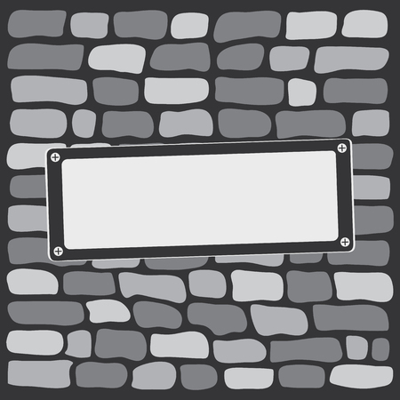 Gray brick wall with signboard. Vector illustration