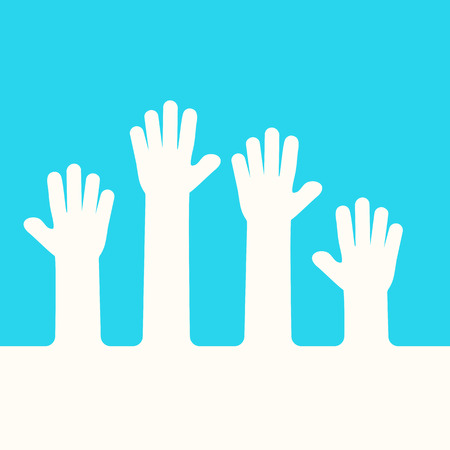 Raised up hands. Business concept. Volunteering. Blue and white colors. Vector illustration
