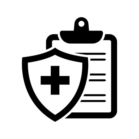 Black medical insurance icon. Vector illustration Banque d'images - 124991454