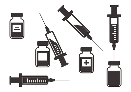 Black set of syringes for injection with vaccine, vials of medicine. Vector illustration