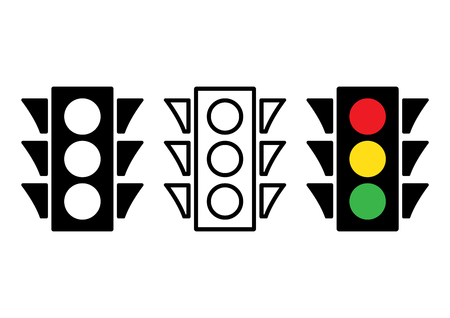 Traffic light icon. Black, colored flat and outline design signs. Vector illustration