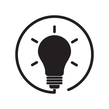 Black lightbulb icon. Vector illustration