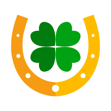 Golden horseshoe and green four leaf clover. Lucky symbol. Vector illustration.