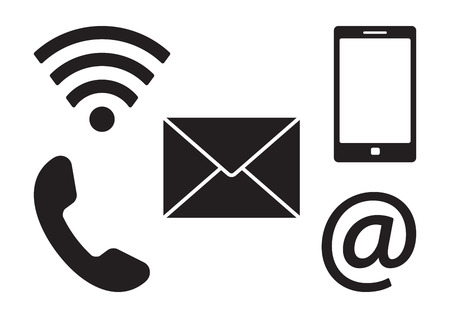 Communication icons, black contact buttons. Vector illustration