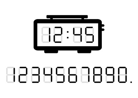 Alarm clock and calculator digital numbers. Vector illustration