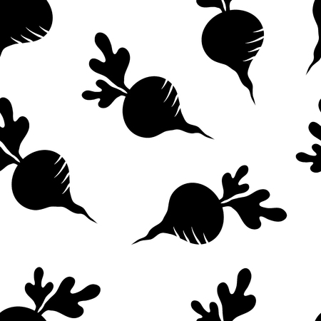 Seamless pattern with black beets isolated on white background. Vector illustration