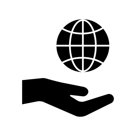 Hand hold globe, black icon. Vector illustration