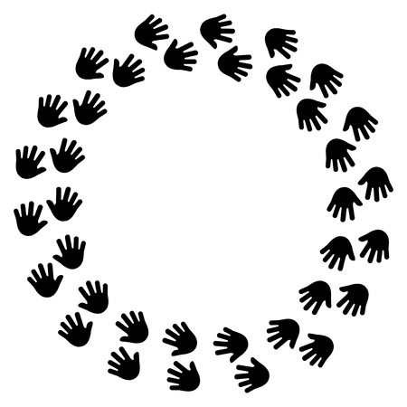 Black human handprint, round frame for your text. Vector illustration