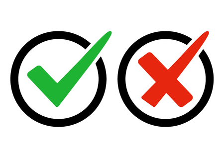 Green and red buttons. Green check mark and red cross. Right and wrong. Vector illustration Illustration