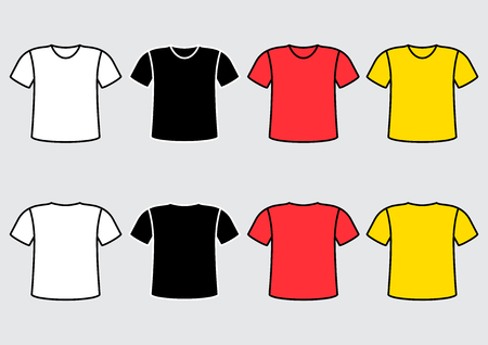 Set of colorful t-shirt, front and back view. Vector illustration