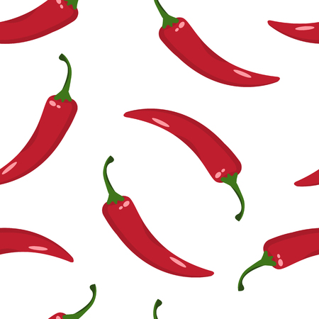 Seamless pattern with red hot chilli pepper isolated on white background. Vector illustration