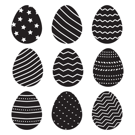 Black Easter eggs isolated on white background. Vector illustration Banque d'images - 124637712