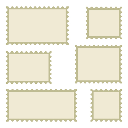Set of blank postage stamps of different sizes isolated on white background. Vector illustration