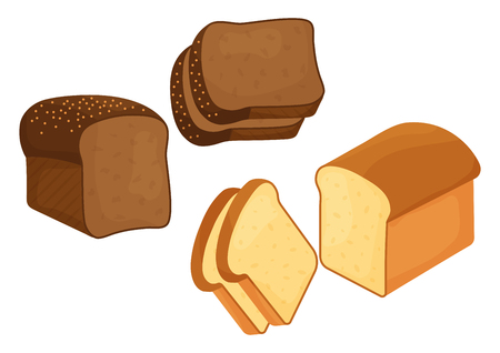 Bakery set. Rye and wheat bread loaf and slices. Vector illustration Banque d'images - 124547719