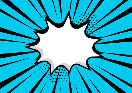 Empty white comic bubble with blue background. Comic sound effects in pop art style. Vector illustration Banque d'images - 124547720