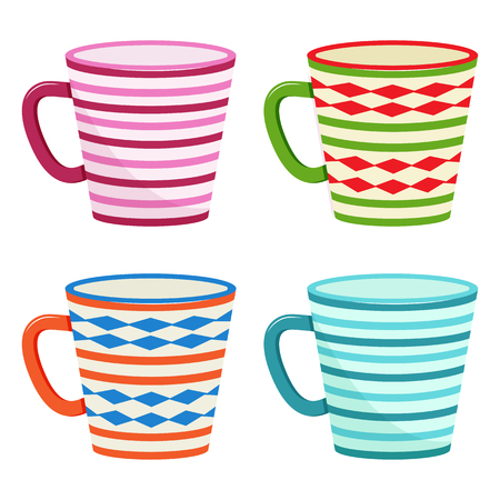 Set of cup for drink with colorful different pattern. Vector illustration