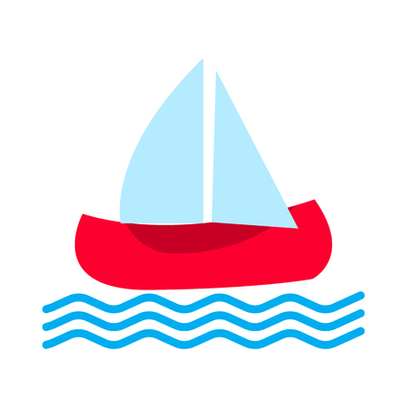 Boat icon with waves. Vector illustration