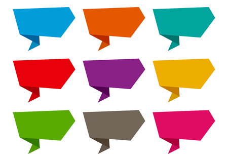 Colorful banner, set of origami ribbons. Vector illustration Banque d'images - 124511376