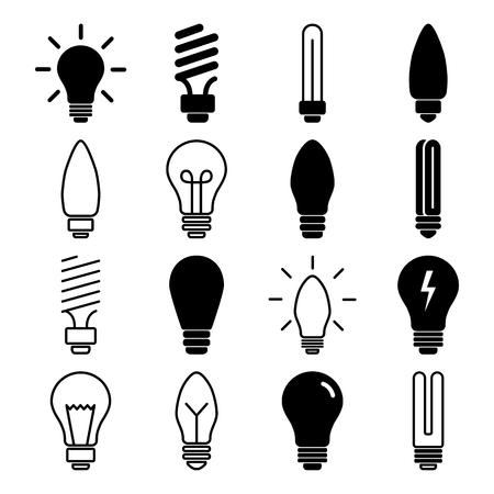 Set of light bulb icons, different lamp. Vector illustration