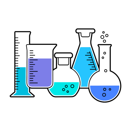 Set of chemical flask with colored liquid. Vector illustration