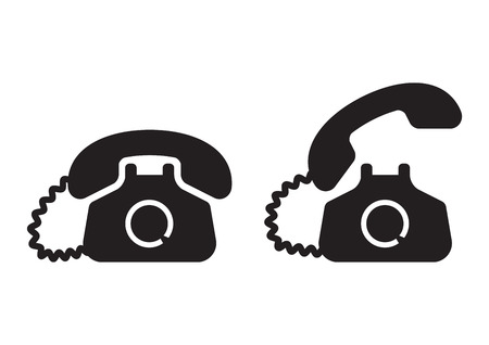 Black old phone icon. Vector illustration