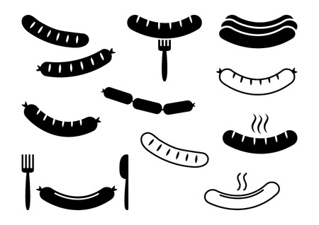 Set of grilled sausage, barbecue, black flat and outline design. Vector illustration Banque d'images - 124386109