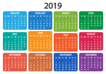 Colorful calendar 2019. Week starts from Sunday. Vector illustration